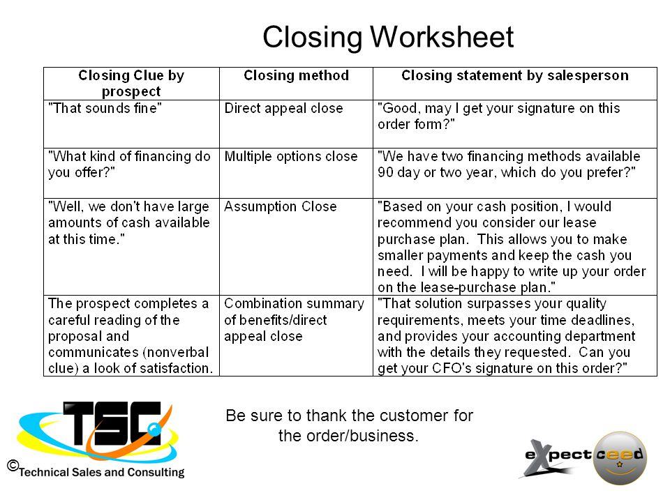 © Closing Worksheet Be sure to thank the customer for the order/business.