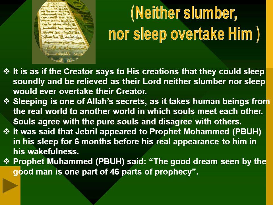  No slumber could overtake Him, as Allah negates that slumber could ever overtake Him.