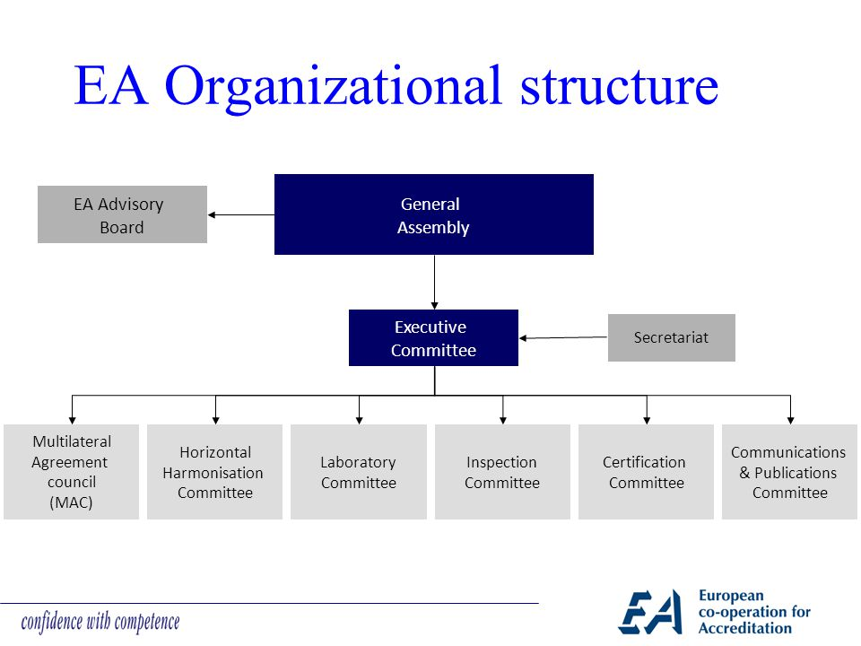 EA Organizational structure EA Advisory Board General Assembly Executive Committee Secretariat Multilateral Agreement council (MAC) Horizontal Harmonisation Committee Laboratory Committee Inspection Committee Certification Committee Communications & Publications Committee