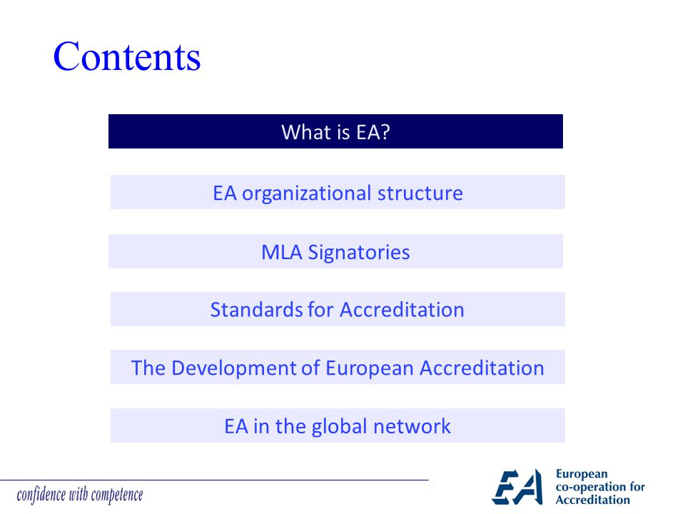  Operate according to the criteria specified in the relevant European Standards, published in the EN 45000 and ISO/IEC 17000 series of standards, or other internationally recognised normative documents, supplemented by EA application documents, if necessary  Accept the other schemes operated by the other signatories as equivalent to their own  Recognise on an equal basis with their own the certificates and/or reports from the organisations accredited by the signatories under their scheme(s)  Recommend & promote the acceptance of certificates and/or reports from the organisations accredited by the signatories under their scheme(s) by all users in countries of the signatories  Investigate all complaints initiated by a signatory resulting from certificates and/or reports issued by an accredited organisation of their own scheme(s)  Notify all other signatories as soon as possible of any significant change that has occured or will occur in their status or in the operational practices of their scheme(s) EA MLA Signatories: rights & obligations