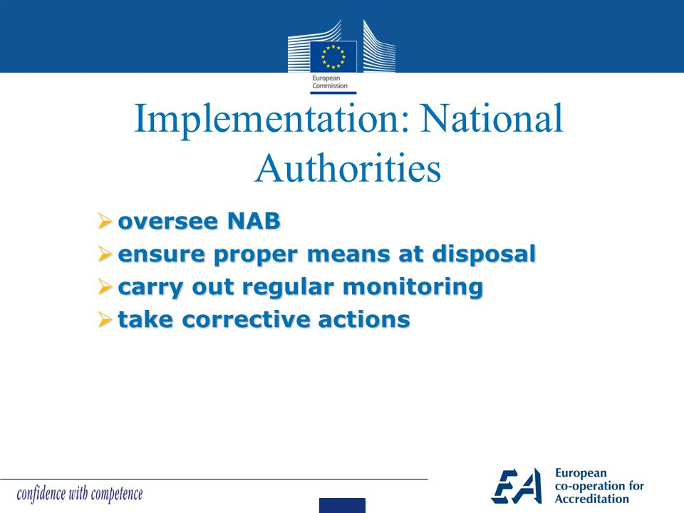 Implementation: National Authorities  oversee NAB  ensure proper means at disposal  carry out regular monitoring  take corrective actions