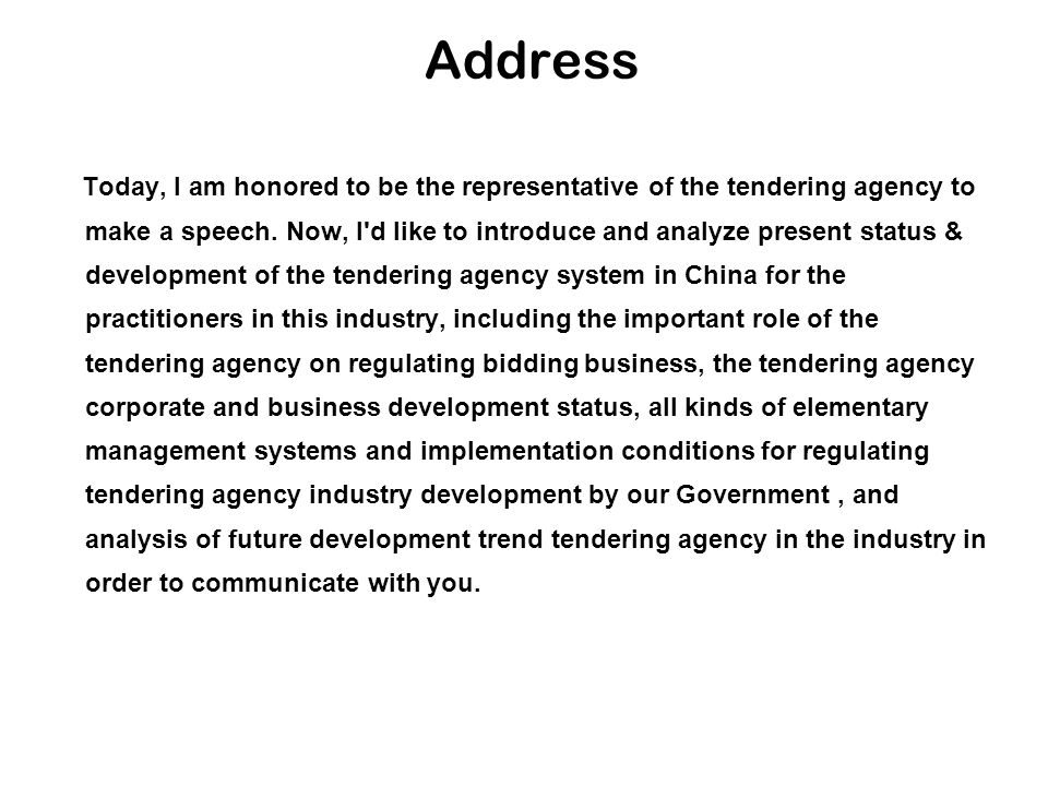 Outline I.the Role of China Tendering Agency in Tendering and Bidding Business II.