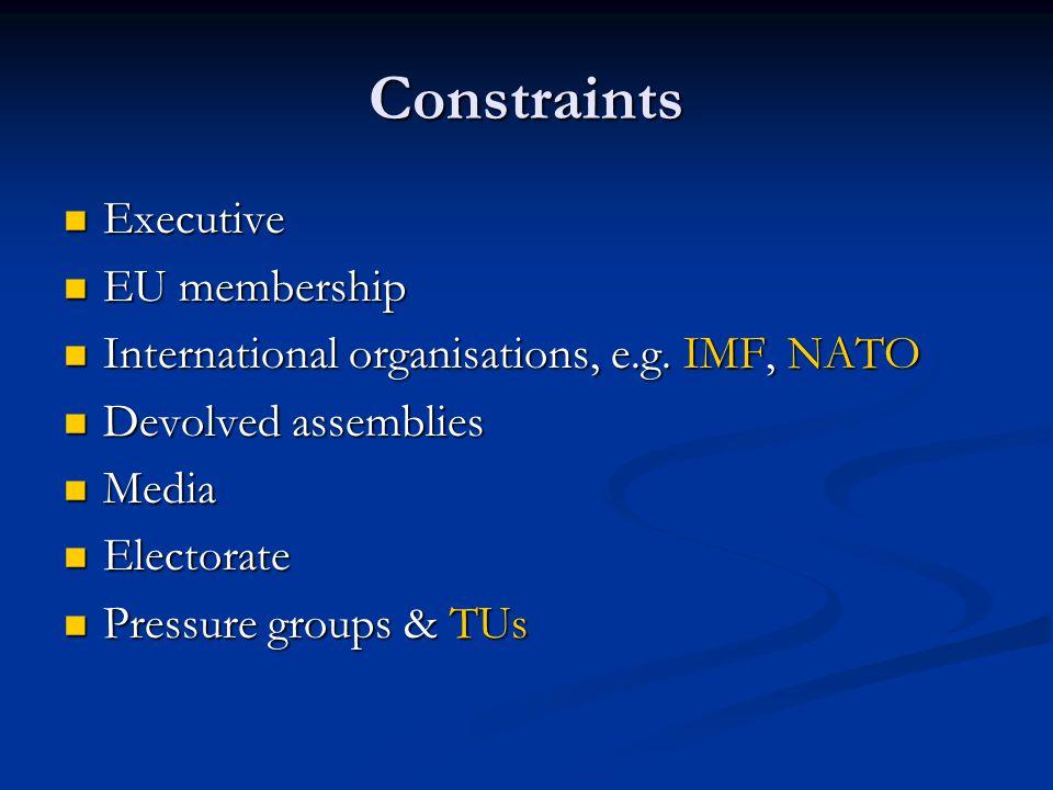 Constraints Executive Executive EU membership EU membership International organisations, e.g. IMF, NATO International organisations, e.g. IMF, NATO De