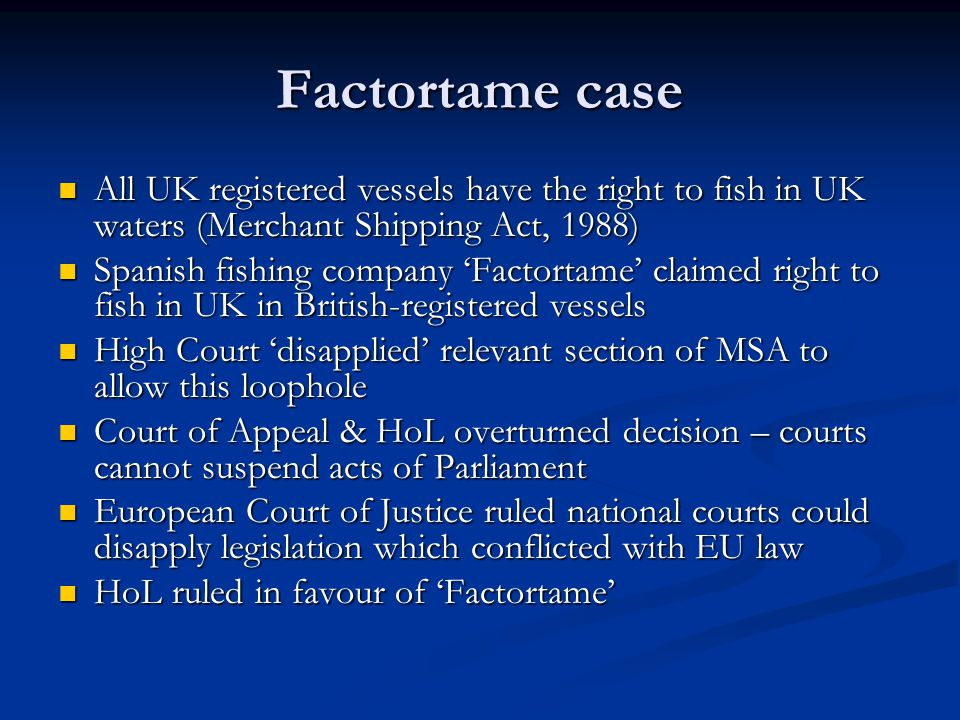 What does the Factortame case tell us about parliamentary sovereignty.