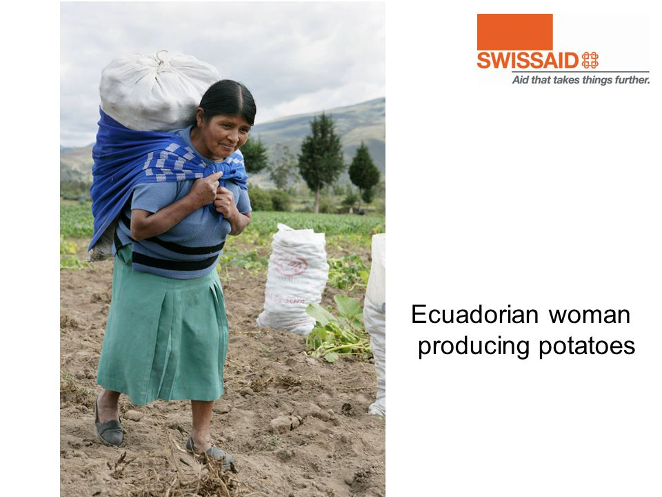 Ecuadorian woman producing potatoes