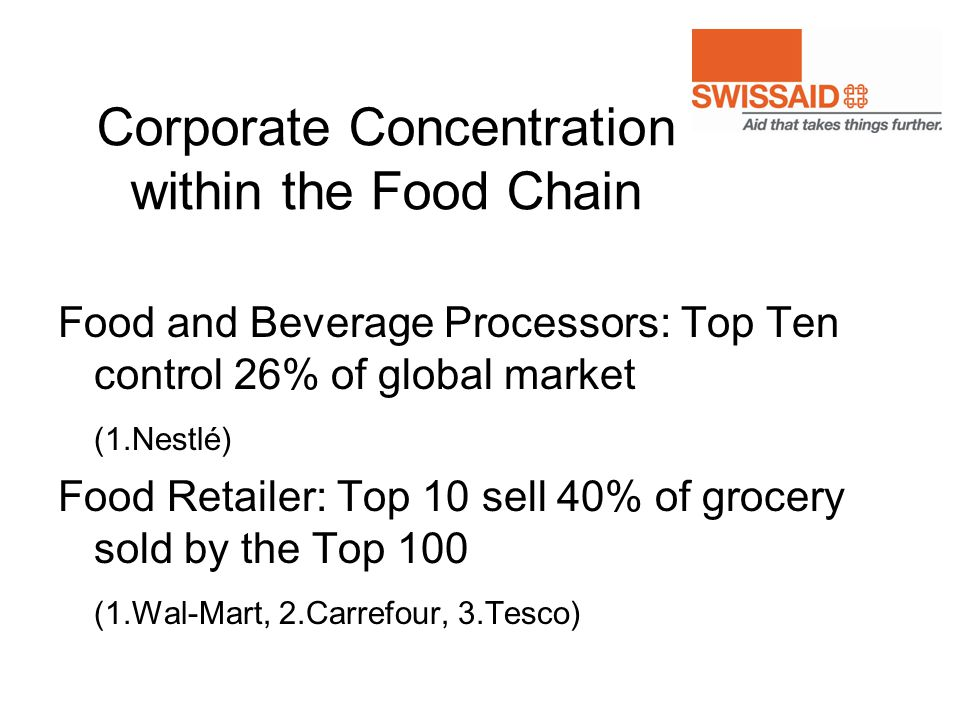 Corporate Concentration within the Food Chain Food and Beverage Processors: Top Ten control 26% of global market (1.Nestlé) Food Retailer: Top 10 sell
