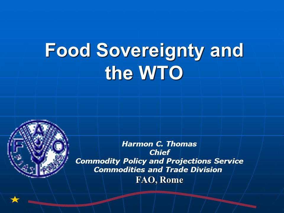 Outline of Presentation I.Comparison of food policy concepts Food Security Food Security Right to food Right to food Food Sovereignty Food Sovereignty II.MDG challenge: reducing poverty & hunger by half by 2015 III.WTO rules and food policies WTO Agreement on Agriculture (AoA) – focus and objectives WTO Agreement on Agriculture (AoA) – focus and objectives Current renegotiation of the AoA and food policy issues Current renegotiation of the AoA and food policy issues