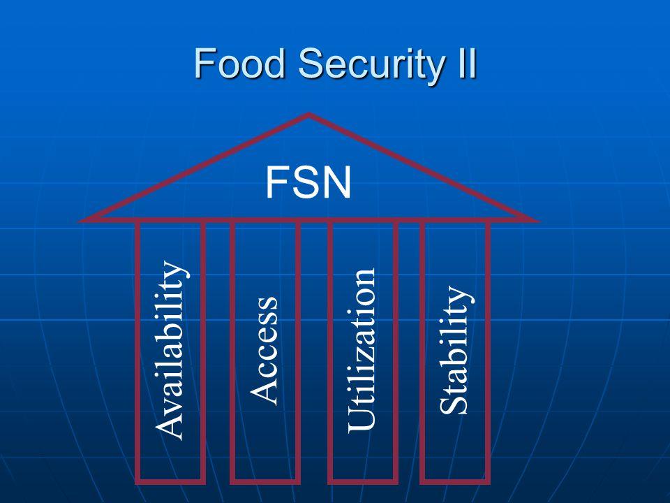 Food Security II FSN Availability Access Utilization Stability