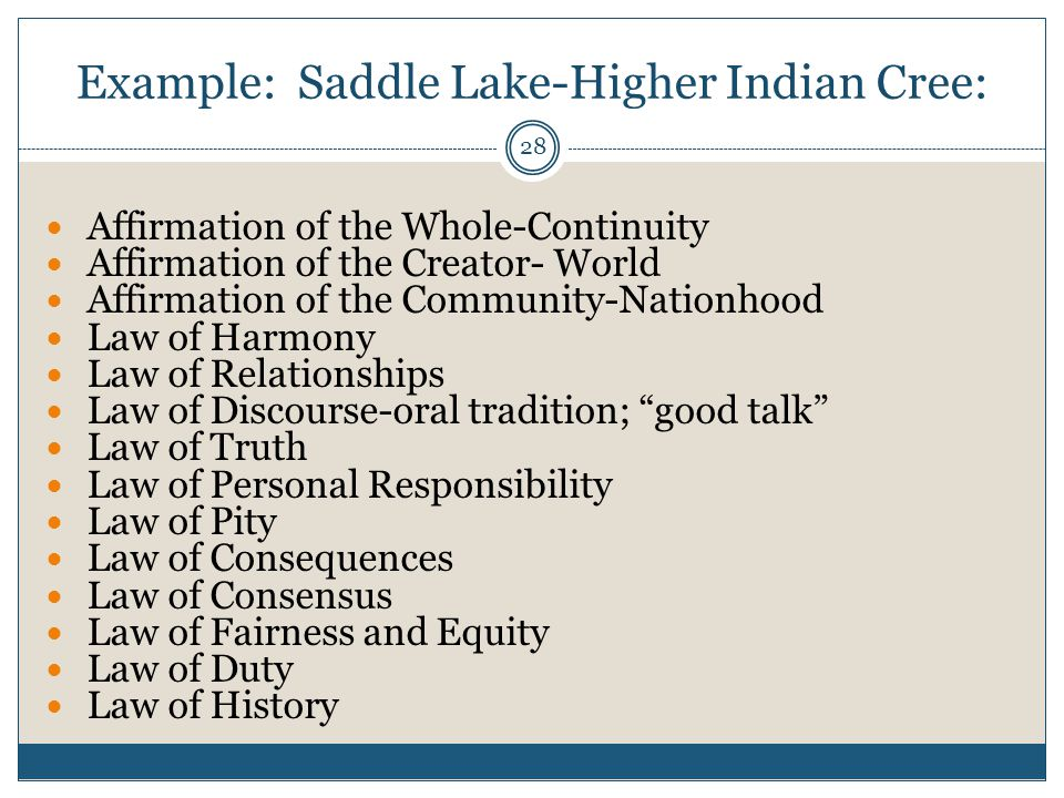 28 Example: Saddle Lake-Higher Indian Cree: Affirmation of the Whole-Continuity Affirmation of the Creator- World Affirmation of the Community-Nationh