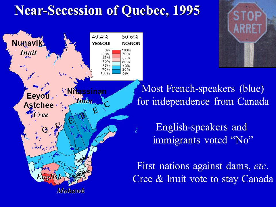 Near-Secession of Quebec, 1995 Near-Secession of Quebec, 1995 Most French-speakers (blue) for independence from Canada English-speakers and immigrants voted No First nations against dams, etc.