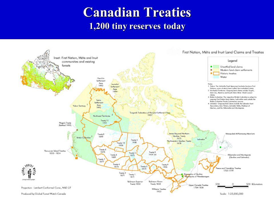 Canadian Treaties 1,200 tiny reserves today