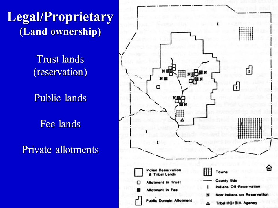 Legal/Proprietary (Land ownership) Trust lands (reservation) Public lands Fee lands Private allotments