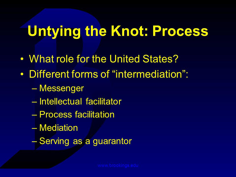 www.brookings.edu Untying the Knot: Process What role for the United States.
