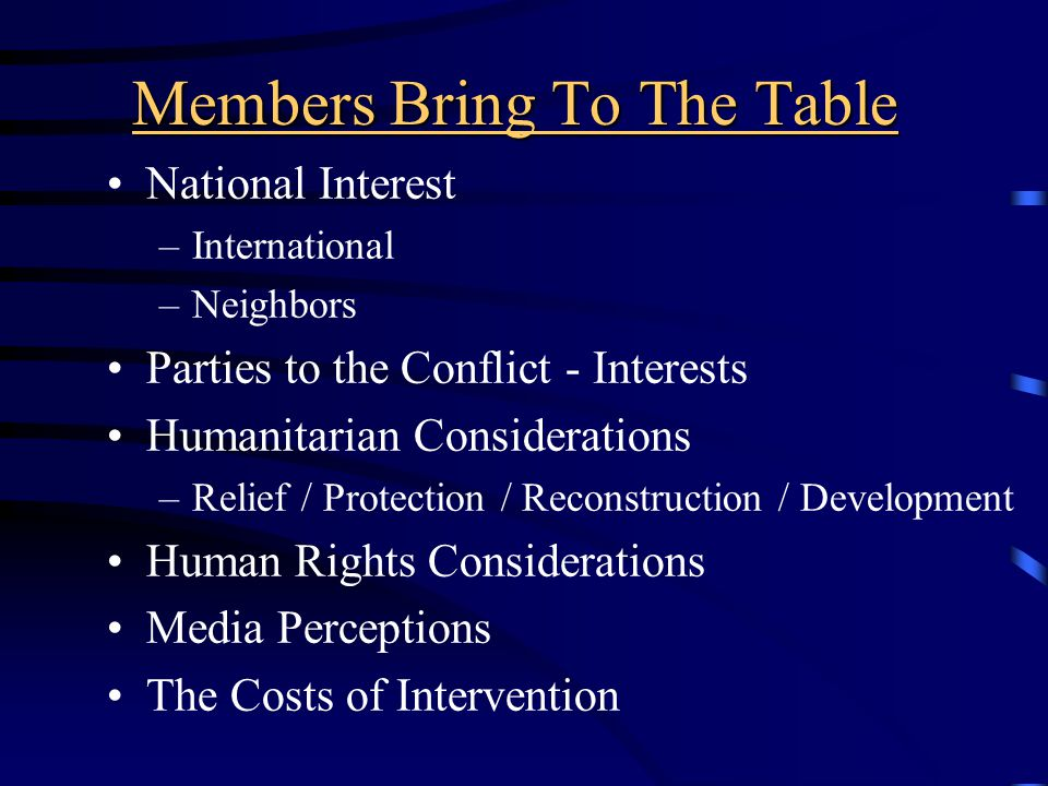Members Bring To The Table National Interest –International –Neighbors Parties to the Conflict - Interests Humanitarian Considerations –Relief / Protection / Reconstruction / Development Human Rights Considerations Media Perceptions The Costs of Intervention