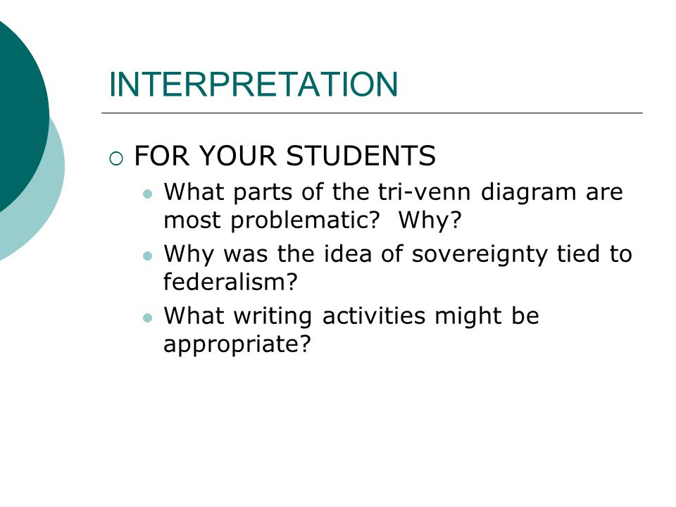 INTERPRETATION  FOR YOUR STUDENTS What parts of the tri-venn diagram are most problematic? Why? Why was the idea of sovereignty tied to federalism? W