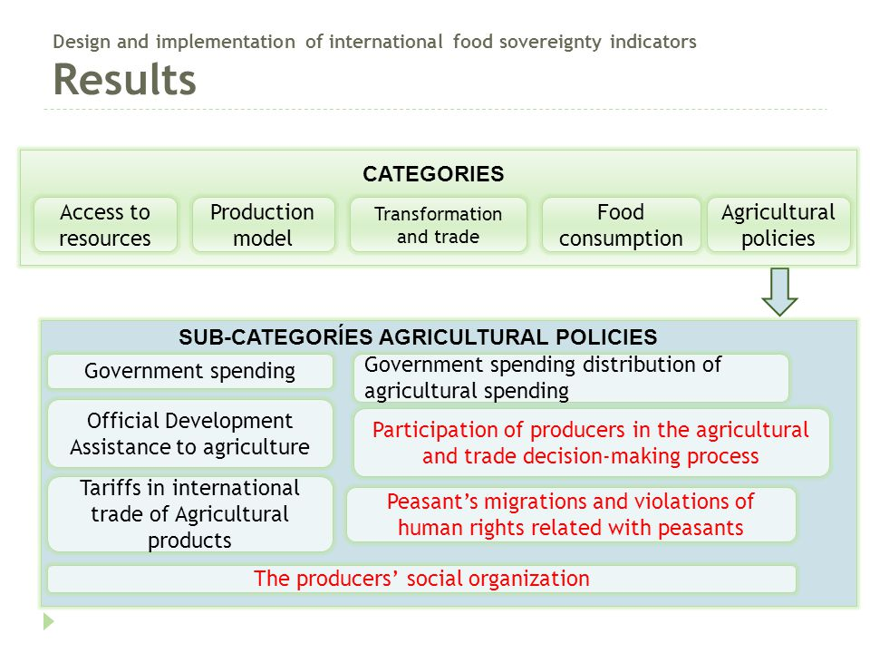 Design and implementation of international food sovereignty indicators Results SUB-CATEGORÍES AGRICULTURAL POLICIES Government spending Tariffs in int