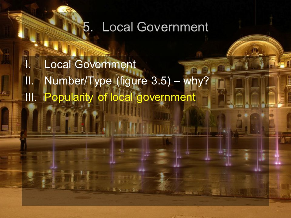 5.Local Government I.Local Government II.Number/Type (figure 3.5) – why? III.Popularity of local government