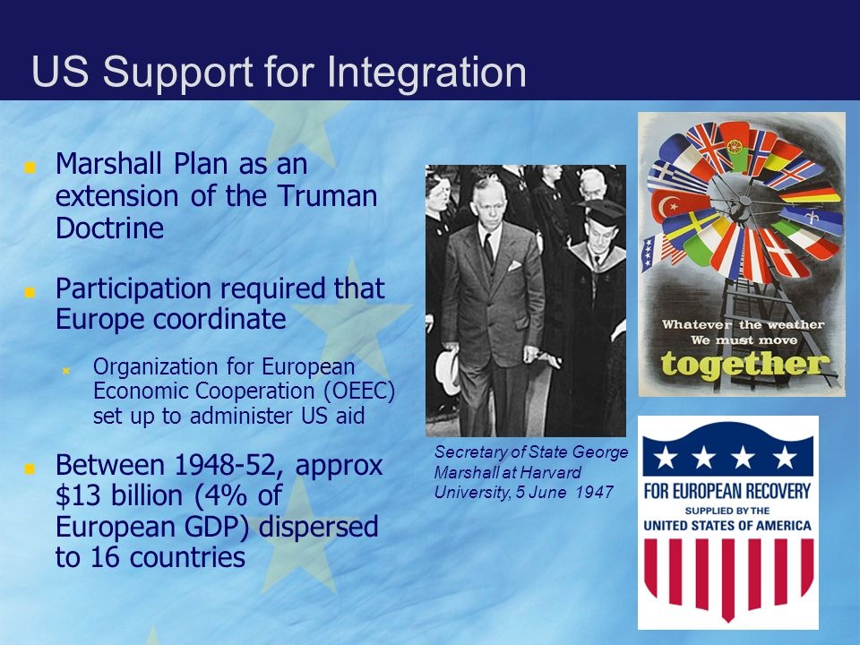 Marshall Plan as an extension of the Truman Doctrine Participation required that Europe coordinate  Organization for European Economic Cooperation (OEEC) set up to administer US aid Between 1948-52, approx $13 billion (4% of European GDP) dispersed to 16 countries Secretary of State George Marshall at Harvard University, 5 June 1947 US Support for Integration