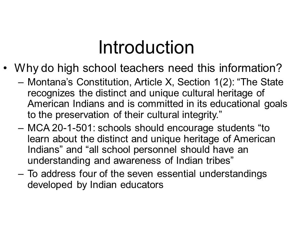 Introduction Why do high school teachers need this information.