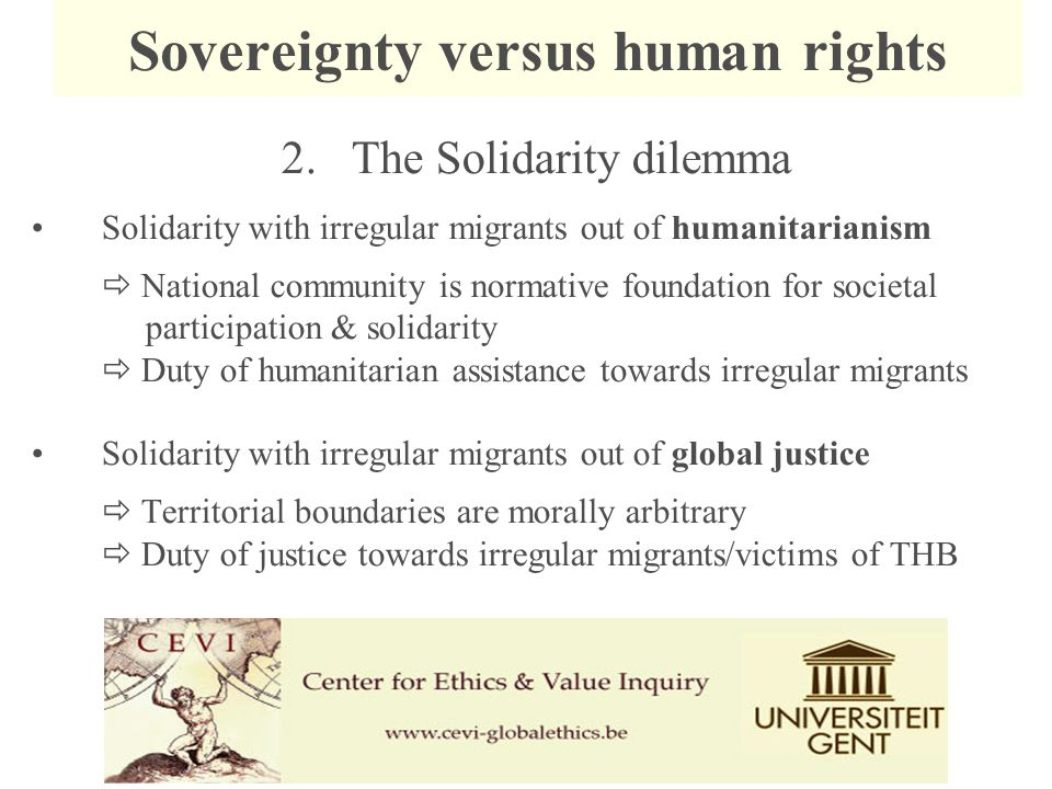 2. The Solidarity dilemma Solidarity with irregular migrants out of humanitarianism  National community is normative foundation for societal particip