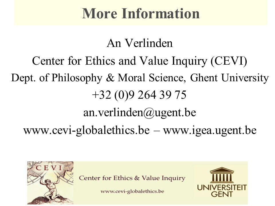 An Verlinden Center for Ethics and Value Inquiry (CEVI) Dept. of Philosophy & Moral Science, Ghent University +32 (0)9 264 39 75 an.verlinden@ugent.be