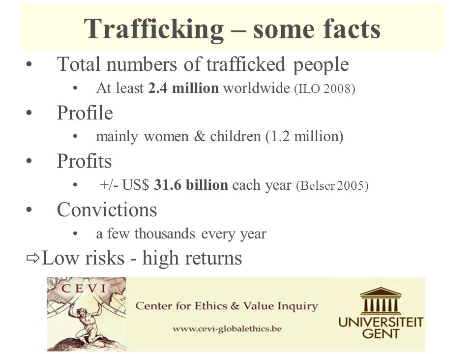 Trafficking – some facts Total numbers of trafficked people At least 2.4 million worldwide (ILO 2008) Profile mainly women & children (1.2 million) Profits +/- US$ 31.6 billion each year (Belser 2005) Convictions a few thousands every year  Low risks - high returns