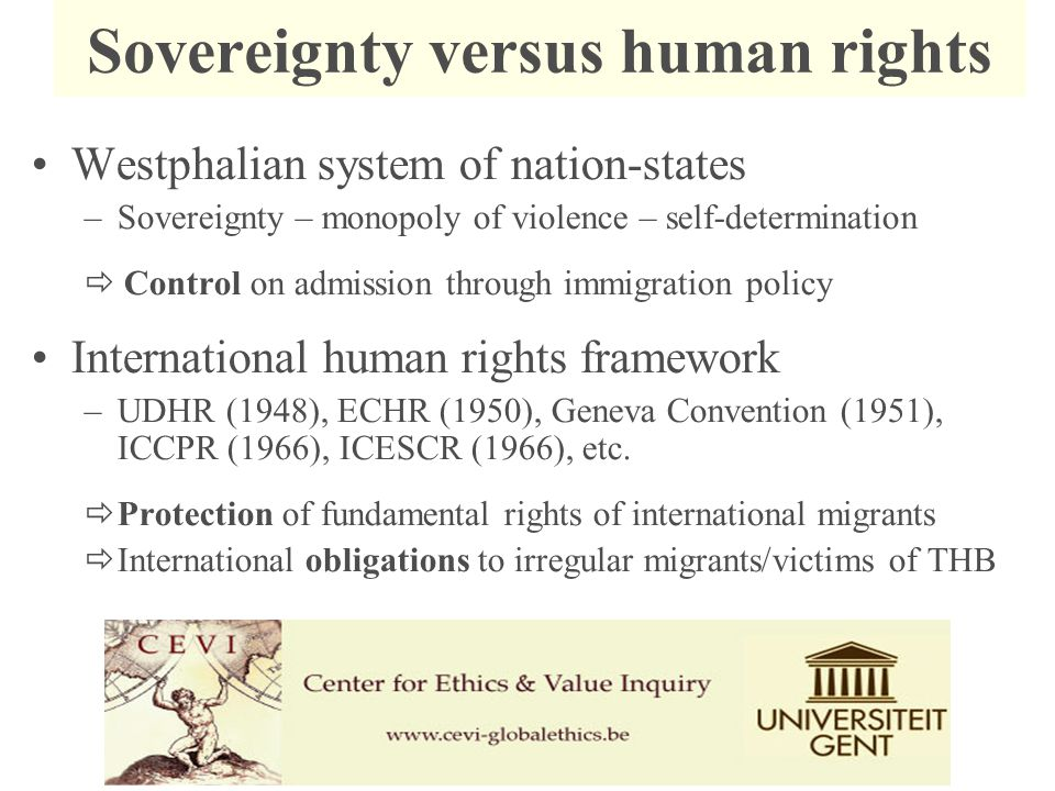 Westphalian system of nation-states –Sovereignty – monopoly of violence – self-determination  Control on admission through immigration policy International human rights framework –UDHR (1948), ECHR (1950), Geneva Convention (1951), ICCPR (1966), ICESCR (1966), etc.