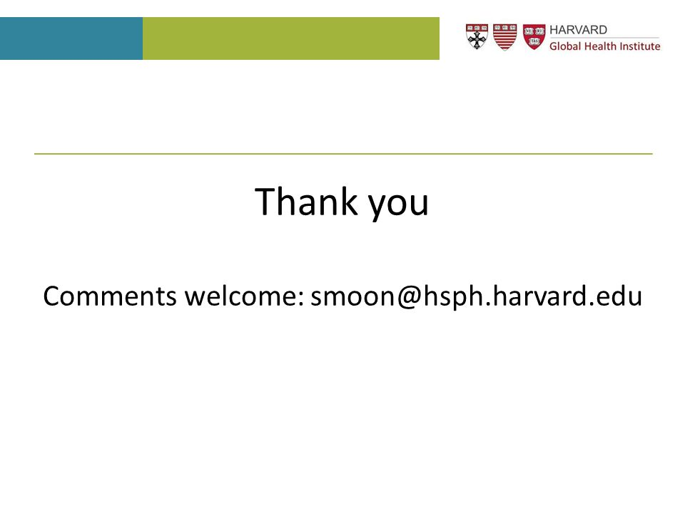 Thank you Comments welcome: smoon@hsph.harvard.edu