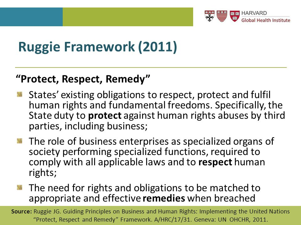 "Ruggie Framework (2011) ""Protect, Respect, Remedy"" States' existing obligations to respect, protect and fulfil human rights and fundamental freedoms."