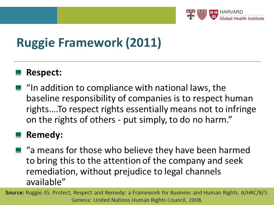"Ruggie Framework (2011) Respect: ""In addition to compliance with national laws, the baseline responsibility of companies is to respect human rights….T"