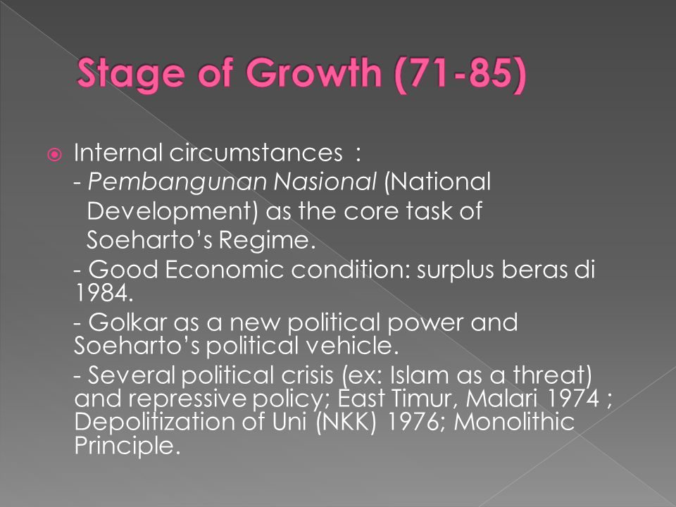 IInternal circumstances : - Pembangunan Nasional (National Development) as the core task of Soeharto's Regime.
