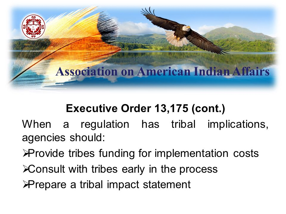 Association on American Indian Affairs Executive Order 13,175 (cont.) When a regulation has tribal implications, agencies should:  Provide tribes fun