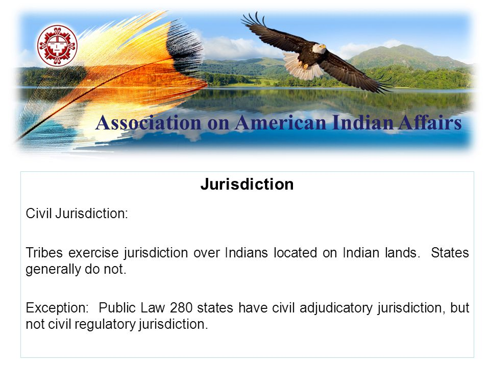 Association on American Indian Affairs Jurisdiction (cont.) Tribal civil jurisdiction over non-Indians is dependent upon whether it implicates tribal self-government or is necessary for tribe's ability to control internal relations Factors to consider include: Whether the non-Indian has entered into a consensual relationship with the tribe or is engaging in an activity that impacts the tribe's political integrity, economic security or health and welfare