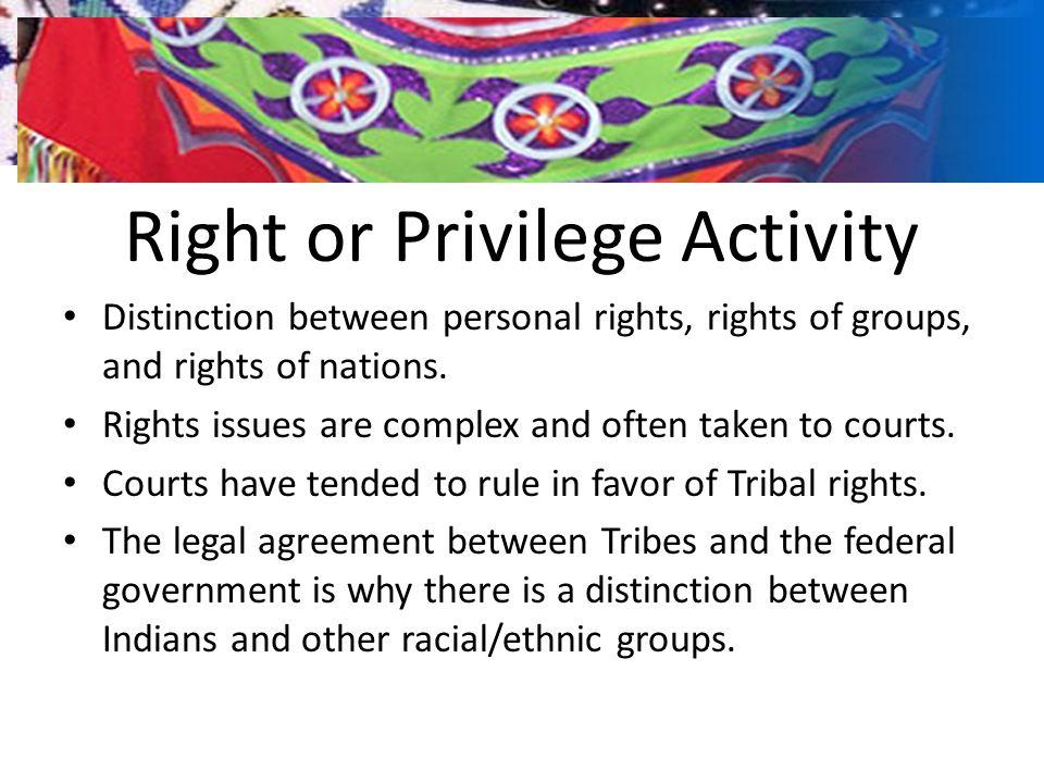 Right or Privilege Activity