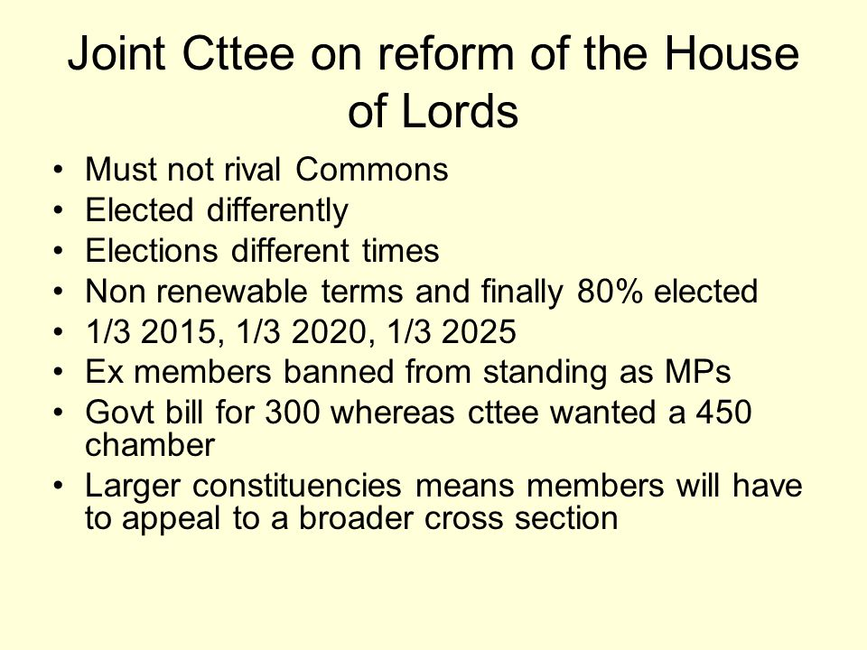 Joint Cttee on reform of the House of Lords Must not rival Commons Elected differently Elections different times Non renewable terms and finally 80% e