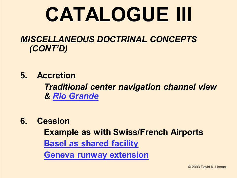 CATALOGUE III MISCELLANEOUS DOCTRINAL CONCEPTS (CONT'D) 5.