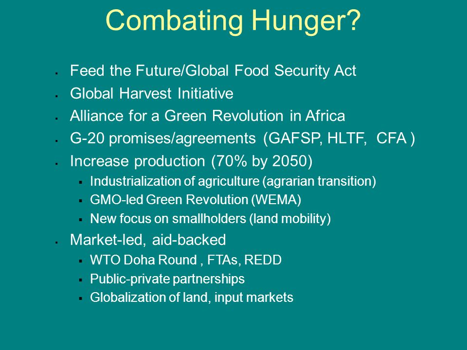 Combating Hunger.