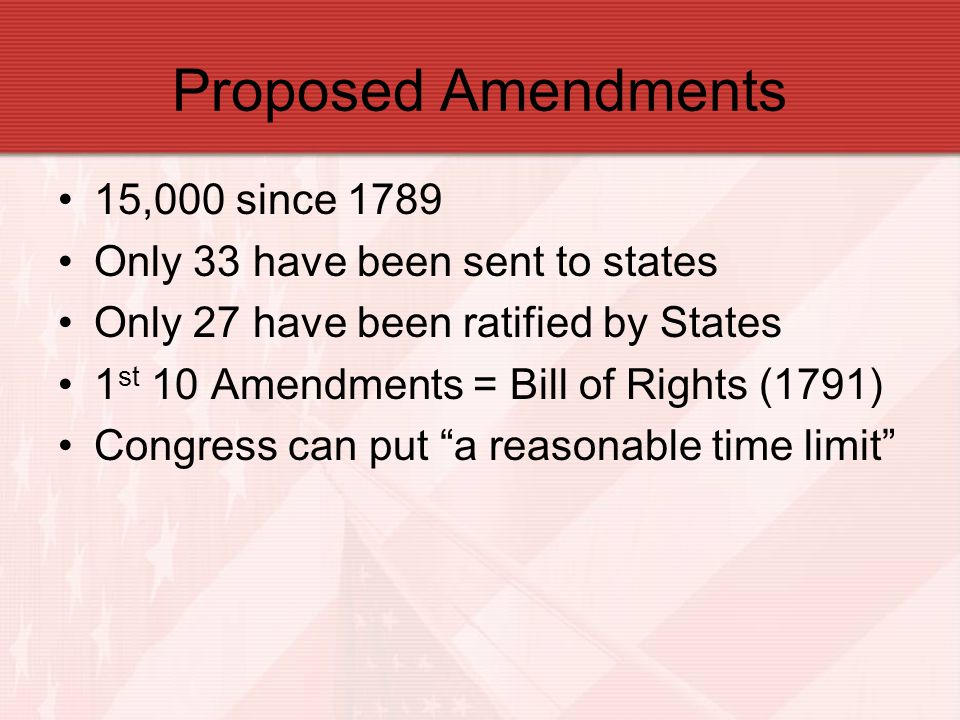 Proposed Amendments 15,000 since 1789 Only 33 have been sent to states Only 27 have been ratified by States 1 st 10 Amendments = Bill of Rights (1791)