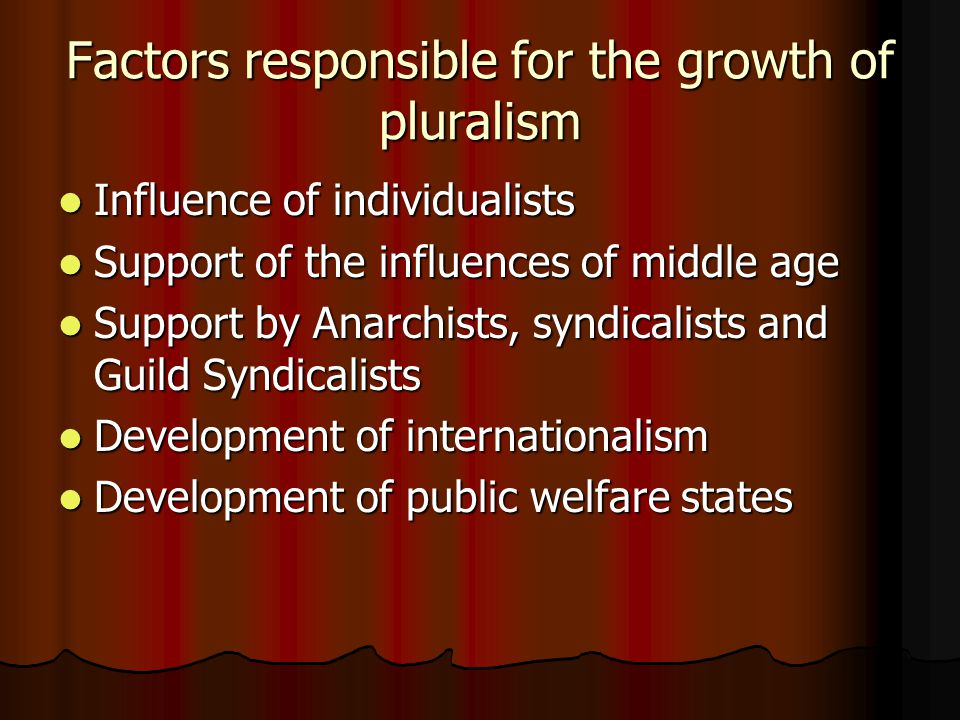 Criticism of pluralistic theory Man will come under the various associations Man will come under the various associations Wrong and narrow view regarding the functions of the state Wrong and narrow view regarding the functions of the state Laws are not independent of the statw authority Laws are not independent of the statw authority Different associations will come into existence for bad purposespluralists lead to Anarchy Different associations will come into existence for bad purposespluralists lead to Anarchy