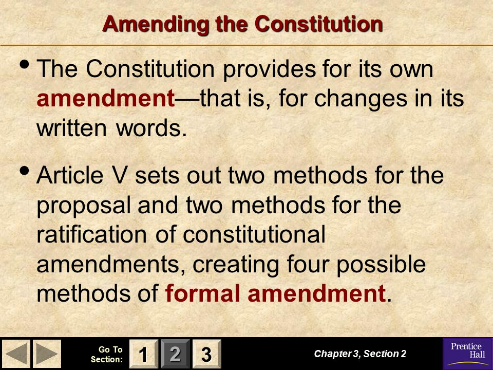 123 Go To Section: Amending the Constitution The Constitution provides for its own amendment—that is, for changes in its written words. Article V sets