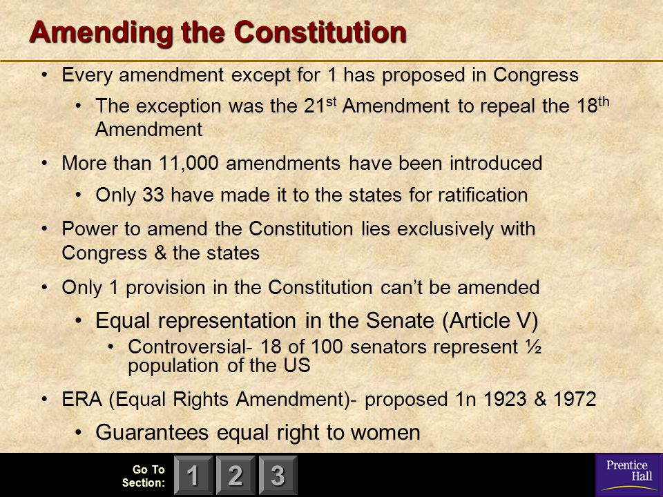 123 Go To Section: Amending the Constitution Every amendment except for 1 has proposed in Congress The exception was the 21 st Amendment to repeal the