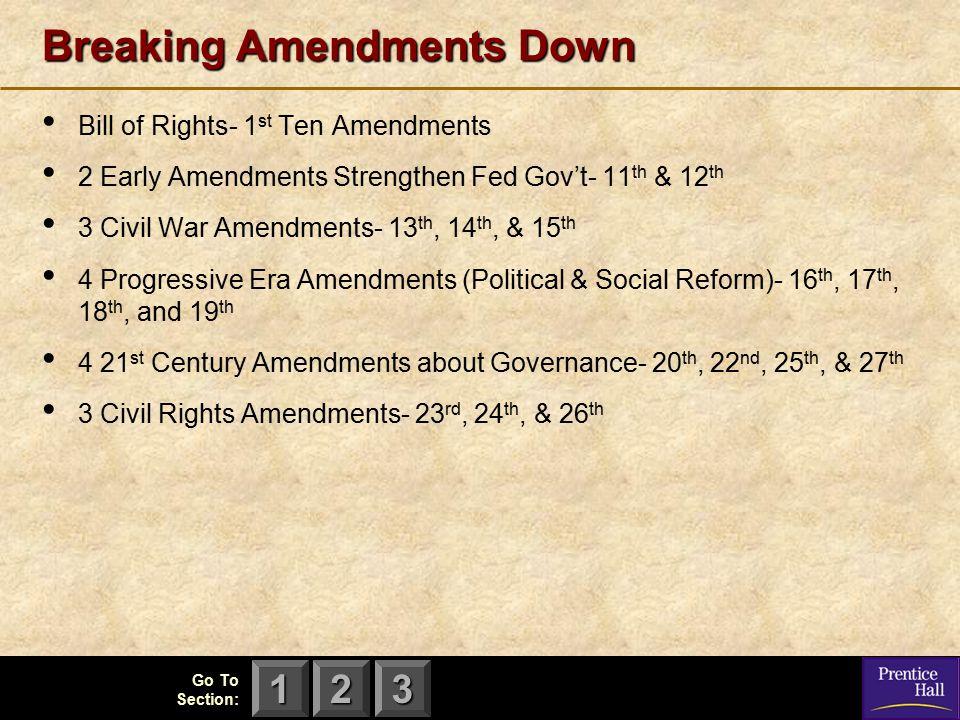 123 Breaking Amendments Down Bill of Rights- 1 st Ten Amendments 2 Early Amendments Strengthen Fed Gov't- 11 th & 12 th 3 Civil War Amendments- 13 th,