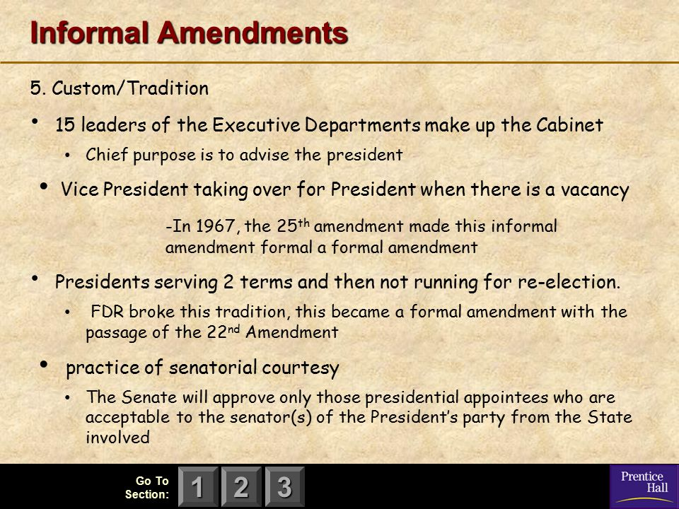 123 Go To Section: Informal Amendments 5. Custom/Tradition 15 leaders of the Executive Departments make up the Cabinet Chief purpose is to advise the