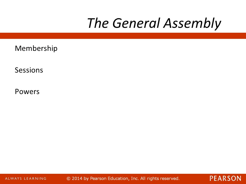 The General Assembly Membership Sessions Powers
