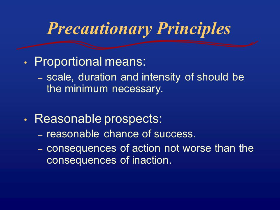 Precautionary Principles Proportional means: – scale, duration and intensity of should be the minimum necessary. Reasonable prospects: – reasonable ch