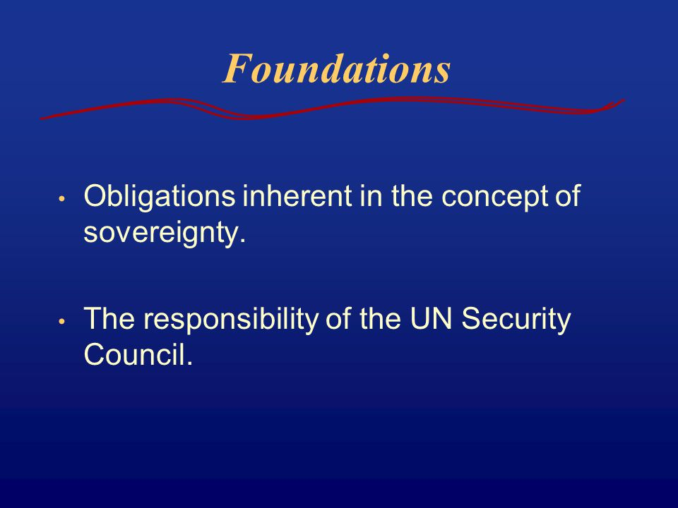 Foundations Obligations inherent in the concept of sovereignty.