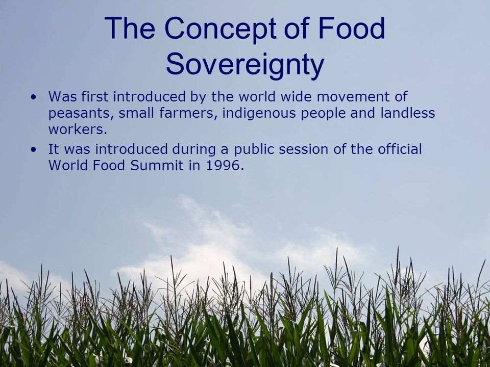 What does food sovereignty mean.