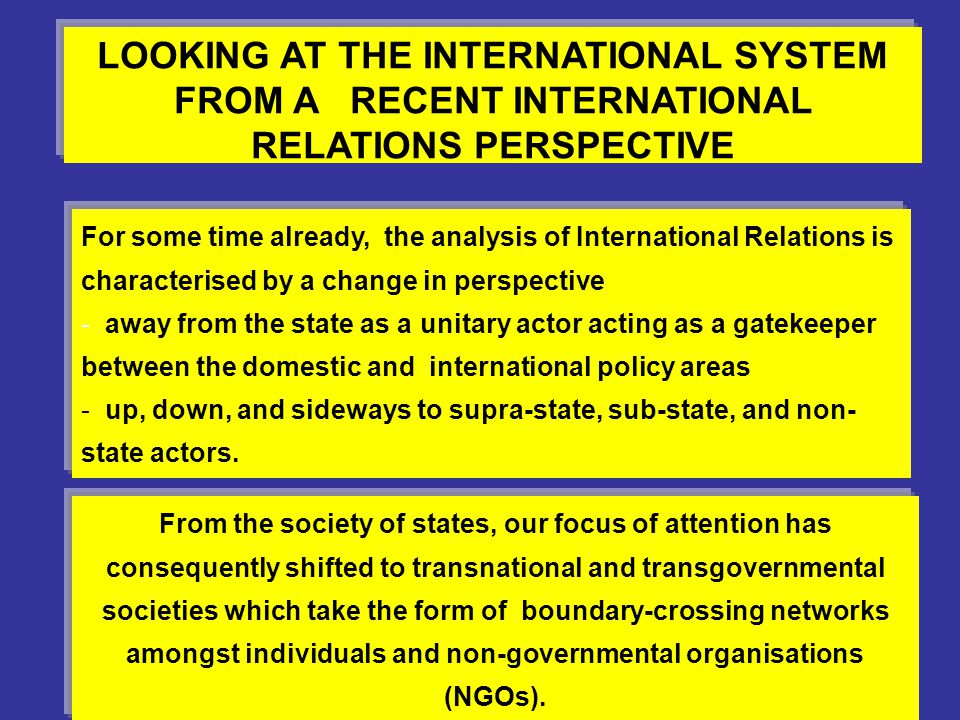 LOOKING AT THE INTERNATIONAL SYSTEM FROM A RECENT INTERNATIONAL RELATIONS PERSPECTIVE For some time already, the analysis of International Relations i