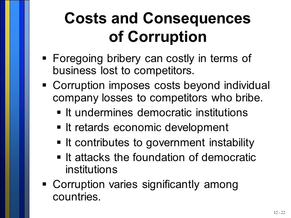 12 - 22 Costs and Consequences of Corruption  Foregoing bribery can costly in terms of business lost to competitors.