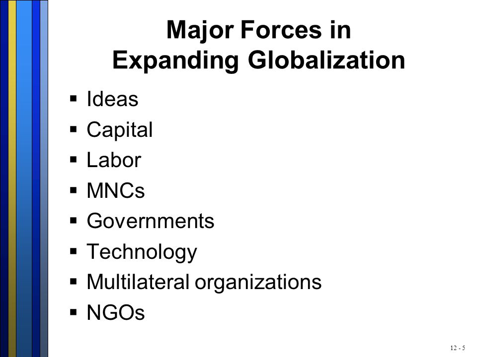 12 - 5 Major Forces in Expanding Globalization  Ideas  Capital  Labor  MNCs  Governments  Technology  Multilateral organizations  NGOs